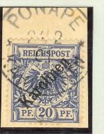 Deutsche Post Auf Den Karolinen Mi# 4 I (flach) Gestempelt Briefstk. - Colonie: Carolines