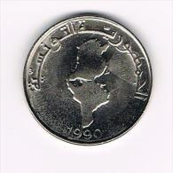*** TUNESIE 1 DINAR  1990  F.O.A. - Tunisie