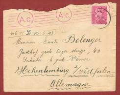 Poortman 1,50 Fr Sur Pli( Avec Contenu) Censuré Hornu - Allemagne, Travailleur Embauché1943 - Postmark Collection
