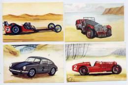 Laiterie Coop.La Mothe St Héray-79--4 Vignettes-Voitures(Alfa-Roméo 1923-Invicta 1931-Dragster 1969-Porsche 911) - Vignettes Autocollantes
