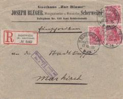 Env Reco Affr 10 Pfg X 3 Obl SCHERWEILER  Du 17.10.15 Avec Cachet De Censure Rectangulaire 39,5 X 10 - Marcophilie (Lettres)