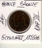 5 CENTIMES NAPOLEON III BRONZE 1855BB - France