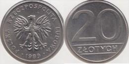 Polonia 20 Zlotych 1989 Km#153.2 - Used - Polonia