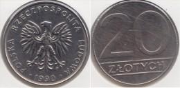 Polonia 20 Zlotych 1990 Km#153.2 - Used - Polonia