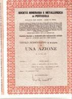 SOCIETA' MINERARIA METALLURGICA DI PERTUSOLA  TITOLO NOMINATIVO DA 1 AZIONE  Doc.151 - Azioni & Titoli