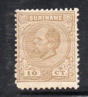 W3091 - SURINAME 1873 , 10 Cent N. 6 * Mint. Punto Di Colore In Colla - Suriname ... - 1975