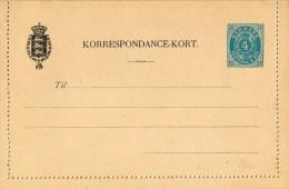 Lettercard,Postcard, Korrespondance-kort 4 Ore - Non Classés