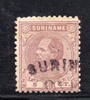 W3095 - SURINAME 1873 , 5 Cent N. 7  Usato Dent 11 1/2 - Suriname ... - 1975