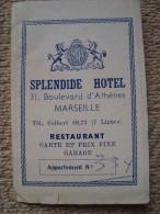 SPLENDIDE Hotel Marseille France Appartement No334 Rare Old Foldout Booklet With City Map, Stores & Info - Publicités