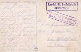 """""""Landst. Btl. Schlettstadt"""" + Censure Straßburg Du 13.11.14 Sur CP """"Kattowitz"""" - Poststempel (Briefe)"""
