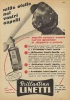 # BRILLANTINA LINETTI, ITALY 1950s Advert Pubblicità Publicitè Reklame Hair Fixer Fixateur Cheveux Fijador Haar - Sin Clasificación