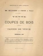 Opuscule vente de coupes de bois     Ann�e 1893