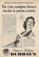# CREMA DI BELLEZZA DURBAN´S 1950s Advert Pubblicità Publicitè Reklame Moisturizing Cream Creme Hydratante Protector - Sin Clasificación