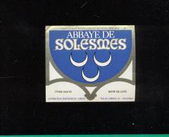 Etiquette De Bière -   Abbaye De Solesmes  (59) - Bière