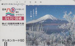 Télécarte Ancienne Japon / 110-3184 - Volcan MONT FUJI / Verso A - Mountain Vulcan Japan Front Bar Phonecard - 232 - Montagnes