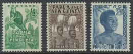 Papua New Guinea 1952 Definitives. Part Set Low Values Mi 1-3 MH - Papua New Guinea