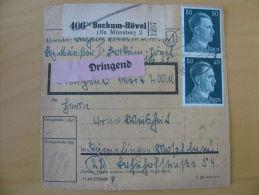Paketkarte Bescheinigung Germany Deutschland Block Stamps Bockum-Hövel 1944 - Postzegels