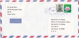 1990 Air Mail SOUTH KOREA Pmk GYEONG BUG UNIVERSITY Cover Stamps Flower Flowers - Korea, South