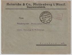 """DR, 1923, """" Plettenberg """", Gebühr Bezahlt , #3148 - Briefe U. Dokumente"""