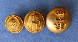 Lot De 3 Boutons D'Officiers De Marine - Buttons