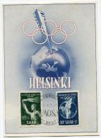SARRE CARTE MAXIMUM DES N°301/302 JEUX OLYMPIQUES D'HELSINKI OBLITERATION SAARBRUCK 1-4-52 - Sommer 1952: Helsinki