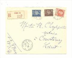Divers Pétain Sur Recommandé Pour Le Loiret CaD Paris 84 Du 17 01 1942 - Postmark Collection (Covers)