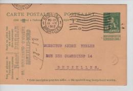 Entier 5 C Lion C.méc.Bruxelles 18/9/1912 + C.publicitaire Henri Pareja 35 Bld D´Anvers BXL-Nord PR2211 - Stamped Stationery