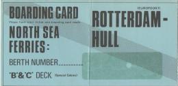 Billet/Ticket.Bateau.Boarding Card. North Sea Ferries. Rotterdam-Hull. - Bateaux