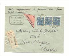 JEANNE D´ARC  En Bande De 3 Sur Lettre Contre-remboursement Recommandée - Marcophilie (Lettres)