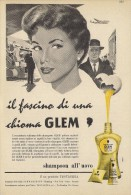# GLEM TESTANERA SCHWARZKOPF EGG SHAMPOO, ITALY 1950s Advert Pubblicità Publicitè Reklame Hair Cheveux Haar Beautè Oeuf - Unclassified