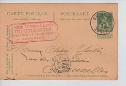 Entier CP 5 C Lion C.Soignies 26/10/1913 + C.Publicitaire Prévinaire & Pasteels Tissus  PR2213 - Stamped Stationery