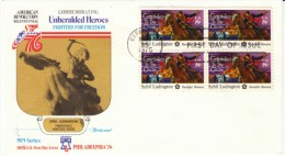 #1559 Sybil Luddington American Revolution, Block Of 4 8-cent Stamps FDC 1975 Cover - First Day Covers (FDCs)