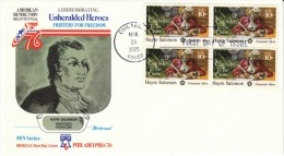 #1561 Haym Salomon, Jewish American Patriot, American Revolution, Block Of 4 10-cent Stamps FDC 1975 Cover - First Day Covers (FDCs)