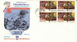 #1560 Salem Poor, Black American Patriot, American Revolution, Block Of 4 10-cent Stamps FDC 1975 Cover - First Day Covers (FDCs)
