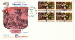 #1562 Peter Francisco American Patriot, American Revolution, Block Of 4 18-cent Stamps FDC 1975 Cover - First Day Covers (FDCs)