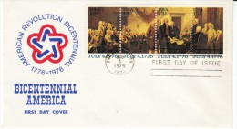 #1691-1694 Signing Of Declaration Of Independence, American Revolution, Strip Of 4 13-cent Stamps FDC 1976 Cover - First Day Covers (FDCs)
