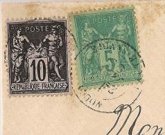 10c SAGE Superbe NUANCE Trés Foncée, VOUGY Haute Savoie Sur Devant Au Type SAGE. - 1877-1920: Période Semi Moderne