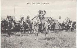 Chief Joe Healy And Braves, Native American Indian Headress, C1900s Vintage Postcard - Indiens De L'Amerique Du Nord