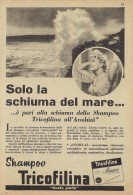 # SHAMPOO TRICOFILINA ITALY 1950s Advert Pubblicità Publicitè Reklame Hair Cheveux Haar Beautè Ocean Waves Flots - Unclassified