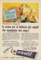 # CREMA TRICOFIL TRICOFILINA, ITALY 1950s Advert Pubblicità Publicitè Hair Fixer Fixateur Cheveux Fijador Haar - Perfume & Beauty