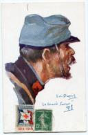 FRANCE THEME CROIX-ROUGE CARTE POSTALE N°4 NOS POILUS AVEC VIGNETTE Ste Fce SECOURS AUX BLESSES MILITAIRES.....1914-1915 - Commemorative Labels
