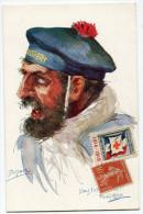FRANCE THEME CROIX-ROUGE CARTE POSTALE N°5 NOS POILUS AVEC VIGNETTE Ste Fce SECOURS AUX BLESSES MILITAIRES.....1914-1915 - Marcophilie (Lettres)