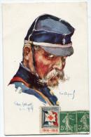 FRANCE THEME CROIX-ROUGE CARTE POSTALE N°7 NOS POILUS AVEC VIGNETTE Ste Fce SECOURS AUX BLESSES MILITAIRES.....1914-1915 - Commemorative Labels