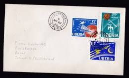 Liberia: Cover To Switzerland, 1963, 3 Stamps, Series Space Exploration, Science, Satellite, Rocket (traces Of Use) - Liberia
