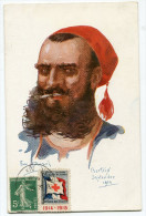 FRANCE THEME CROIX-ROUGE CARTE POSTALE N°10 NOS POILUS AVEC VIGNETTE Ste Fce SECOURS AUX BLESSES MILITAIRES....1914-1915 - Commemorative Labels