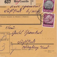ALLEMAGNE 1941 METZ LORRAINE COLIS POSTAL - Occupation 1938-45