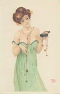 Illustration De Raphaël KIRCHNER: FEMME Aux Bijoux Avec Sa Boîte De Bijoux Dans La Main:  Style Art Nouveau. - Kirchner, Raphael