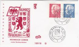 Germany Deutschland 1964 FDC Heinrich Lubke, Canceled In Berlin - [7] Federal Republic
