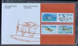 1982  Bush Aircraft  Complete Set Of 4 In Canada Post Presentation Folder  Sc 969-972 Se-tenant Pairs - 1952-.... Règne D'Elizabeth II