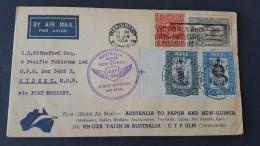Australia 1934 First Official Air Mail Australia And Papua New Guinea Per VH-UXX Faith In Australia.C.T.P..Ulm - Airmail